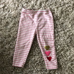 Carter's pink Stripe Leggings with Hearts